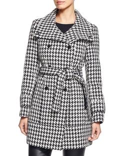Calvin Klein - Houndstooth Belted Coat