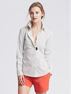 Banana Republic - Fitted Non-Iron Angle Dot Shirt