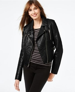 RACHEL Rachel Roy - Faux-Leather Cropped Moto Jacket