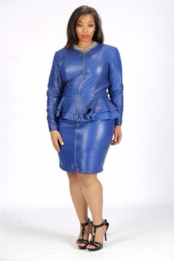 Bella René  - Stretch Italian Leather Reversible Double Peplum Dress