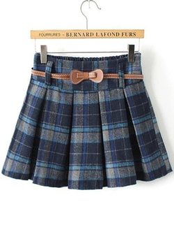 Romwe - Plaid Belt Pleated Skirt