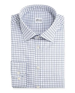 Armani Collezioni	  - Windowpane-Check Dress Shirt