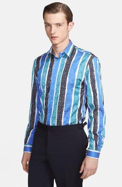 Versace Collection  - Trend Fit Python Stripe Print Dress Shirt