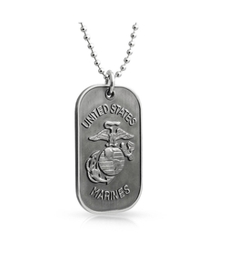 Bling Jewelry - Stainless Steel Us Marines Dog Tag Pendant