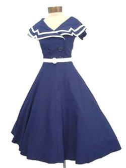 Bettie Page - Nautical Style Navy White Swing Dress