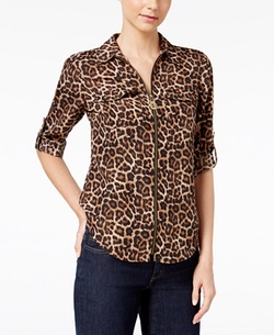 Michael Kors - Animal-Print Zip-Up Utility Shirt