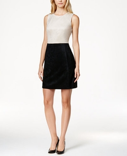 Calvin Klein  - Faux-Suede Colorblocked A-Line Dress
