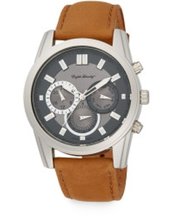 English Laundry - Stainless Steel Chronograph Tan Leather Strap Watch