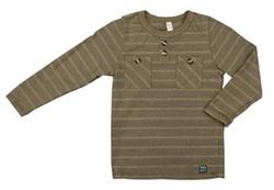 Nano  - Taupe Striped Henley Shirt