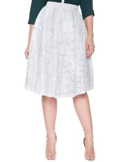 Eloquii - Studio Floral Eyelet Midi Skirt