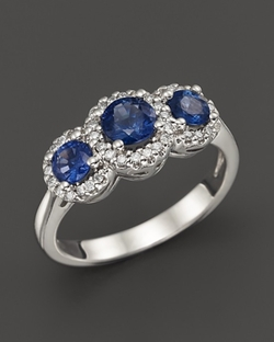 Sapphire and Diamond  - Three-Stone Halo Ring