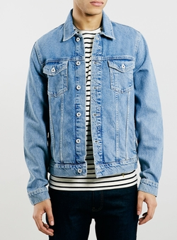 Topman - Light Wash Denim Western Jacket