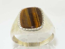 Lets Buy Silver - Natural Tigers Eye Mens Signet Ring