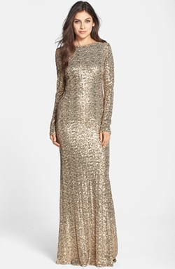 Badgley Mischka - Sequin Drape Back Gown