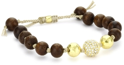 Tai - Wood Beads, Gold Hammered Ball and Swarovski Crystal Ball Bracelet