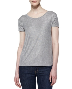 Majestic Paris - Soft Touch Short-Sleeve Metallic Tee