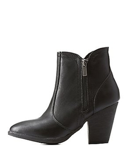 Charlotte Russe - Dollhouse Side-Zipper Chunky Heel Ankle Booties