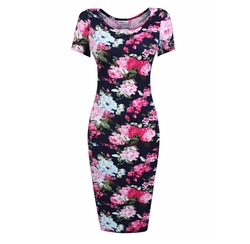 Hotouch  - Womens Floral Short Sleeve Midi Dress