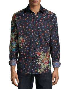 Robert Graham - Skull & Floral-Print Woven Sport Shirt