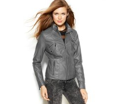 Jou Jou  - Faux-Leather Band-Collar Moto Jacket