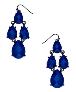 Blu Bijoux Blue - Gunmetal Chandelier Earrings