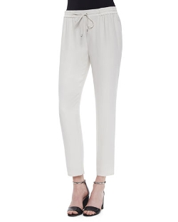 Eileen Fisher - Satin Drawstring Harem Ankle Pants