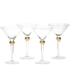 Fitz And Floyd - Metallic Orb Martini Glasses Set of 4
