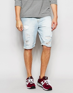 Threadbare  - Bleach Wash Denim Contrast Shorts
