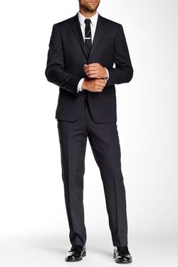 Hart Schaffner Marx - Los Angeles Grey Sharkskin Two Button Notch Lapel Wool Suit