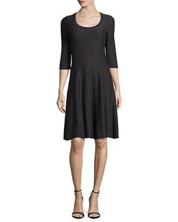 Nic+Zoe - Twirl 3/4 Sleeve Knit Fit-And-Flare Dress