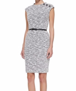 Kay Unger New York - Cap-Sleeve Button-Shoulder Sheath Dress