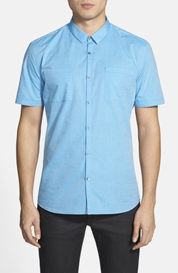 Hugo - Slim Fit Chambray Short Sleeve Sport Shirt