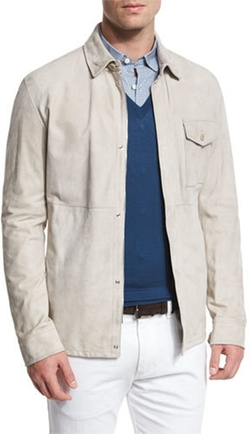 Ermenegildo Zegna - Suede Button-Down Shirt Jacket