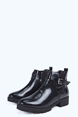 Boohoo - Sarah Elastic Insert Buckle Strap Ankle Boot