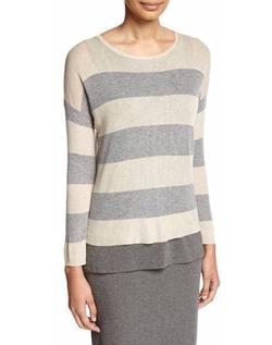 Eileen Fisher - Sleek Lyocell/Merino Long-Sleeve Striped Boxy Top