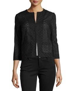 Paperwhite - Pointelle Check-Pattern Woven Jacket