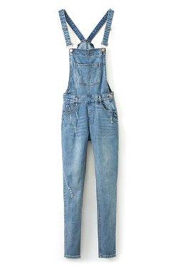 Romwe - Straps Pocketed Loose Blue denim Jumpsuit