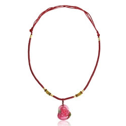 Bling Jewelry - Buddha Synthetic Dyed Jade Pendant Red Rope Necklace