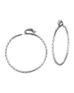 John Hardy  - Naga Large Silver Hoop Earrings with Full Closure