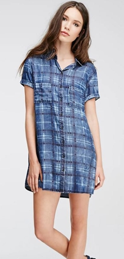 Forever 21 - Plaid Denim Shirt Dress