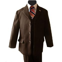 Johnnie Lene  - Pinstripe Brown Suit for Boys