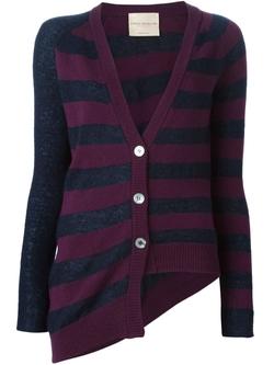 Erika Cavallini Semi Couture   - Striped Asymmetric Cardigan