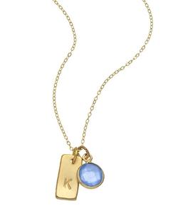 Charlene K - Gemstone Initial Charm Necklace