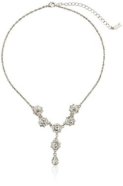 1928 Jewelry - Silver-Tone Crystal Teardrop Y-Shaped Necklace