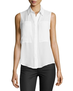 Max Studio - Patch-Front Sleeveless Blouse