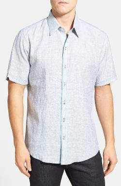 Zachary Prell  - Skidmore Trim Fit Short Sleeve Linen Sport Shirt