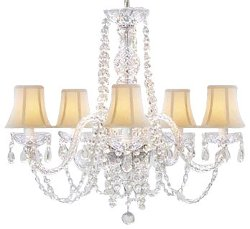 The Gallery   - Crystal Chandelier Lighting with White Shades