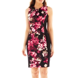 London Style Collection - Pleat-Neck Floral Print Sheath Dress
