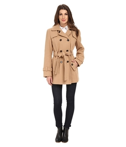 Calvin Klein - Double Breasted Belted Wool Trench Coat