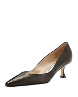 Manolo Blahnik - Twixpla Low-Heel Eelskin Pump Shoes
